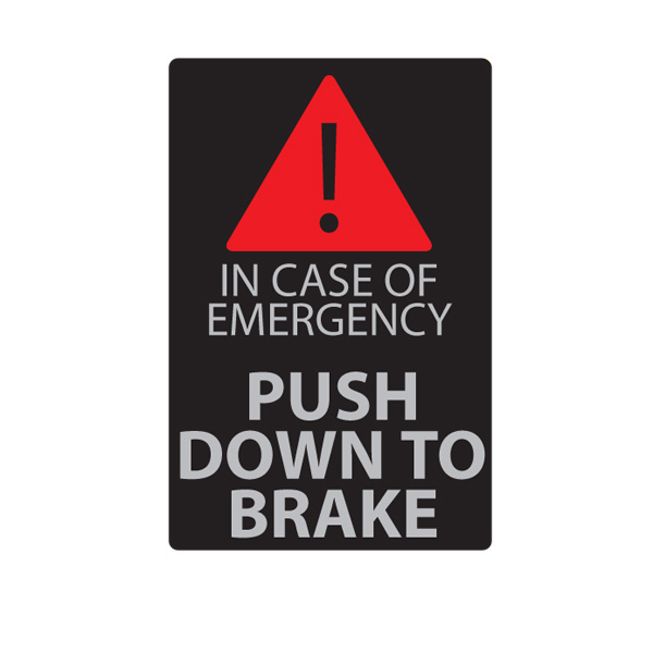 Label 'Push down to brake'